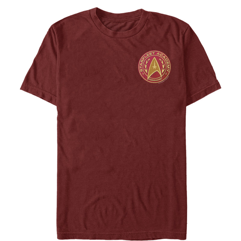 Star Trek Men's Starfleet Academy Command Badge  T-Shirt  Cardinal  L