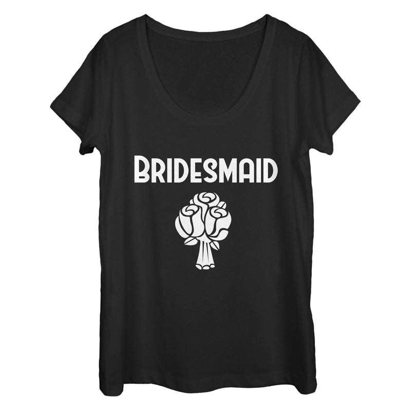 CHIN UP Bridesmaid Bouquet Womens Graphic Scoop Neck