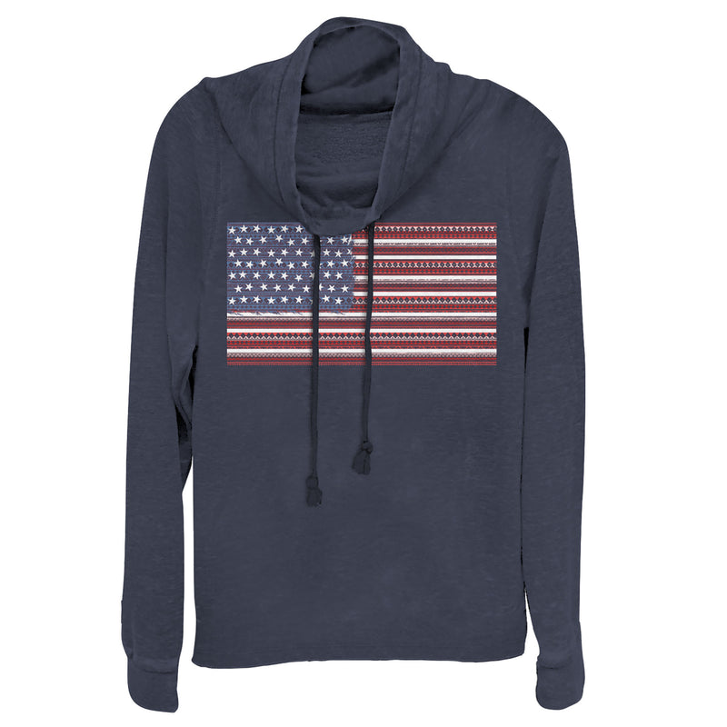 Lost Gods Junior's Fourth of July  Ornate American Flag  Cowl Neck Sweatshirt  Navy Blue  3XL