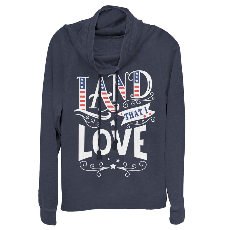 Lost Gods Junior's Fourth of July  America Love Land  Cowl Neck Sweatshirt