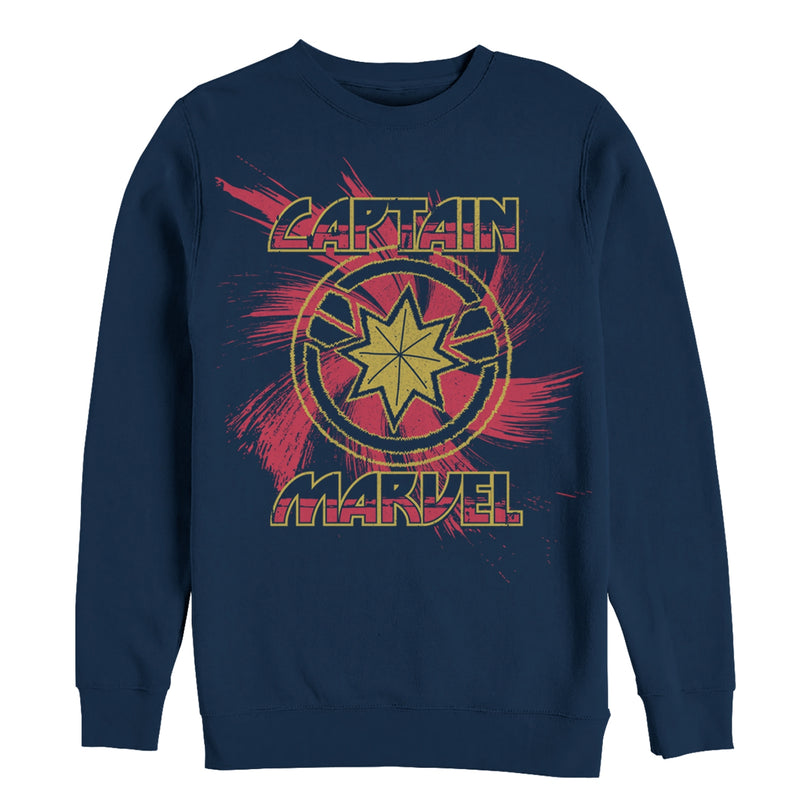 Marvel Men's Captain Marvel Star Symbol Swirl  Sweatshirt  Navy Blue  S