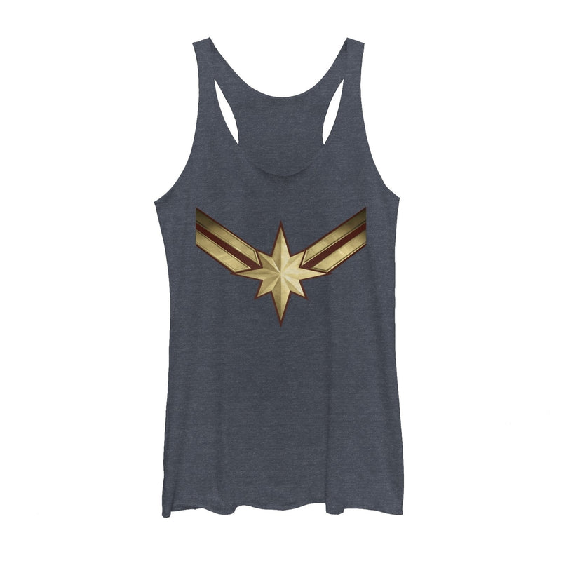 Marvel Women's Captain Marvel Star Symbol Costume  Racerback Tank Top