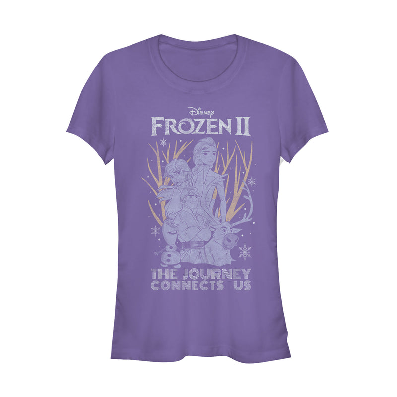 Frozen 2 Junior's Vintage Journey Connects  T-Shirt  Purple  S
