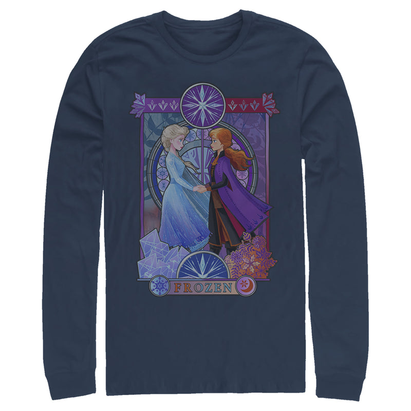 Frozen 2 Men's Sister Stained Glass  Long Sleeve Shirt Navy Blue L
