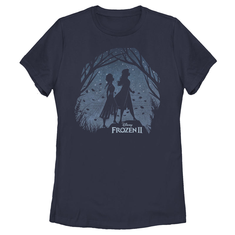 Frozen 2 Women's Sister Shadows  T-Shirt  Navy Blue  XL