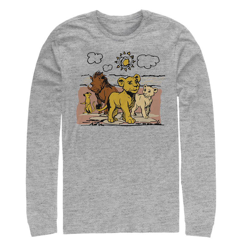 Lion King Best Friends Cartoon Mens Graphic Long Sleeve Shirt