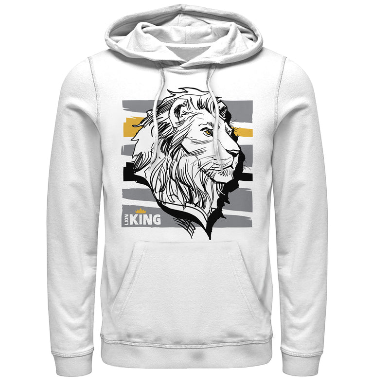 Lion King Men's Mufasa Stripe Profile  Pull Over Hoodie  White  XL