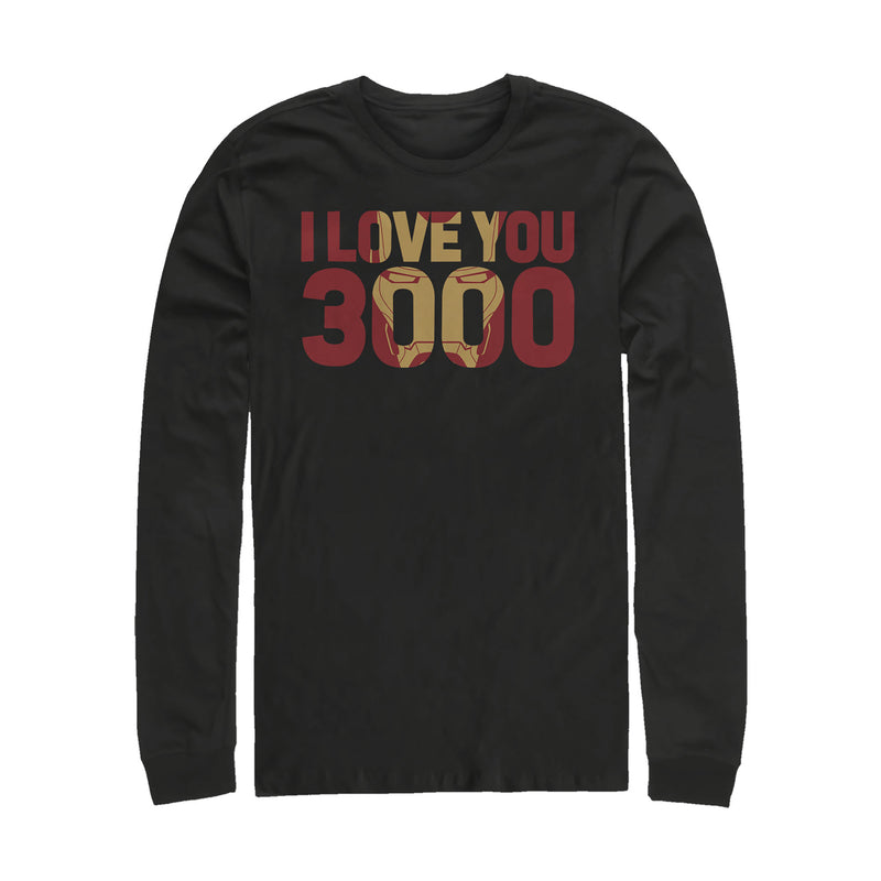 Marvel Men's Iron Man Love 3000 Mask  Long Sleeve Shirt  Black  XL