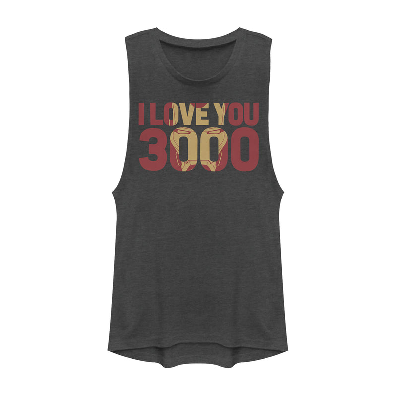 Marvel Junior's Iron Man Love 3000 Mask  Festival Muscle Tee  Charcoal  L