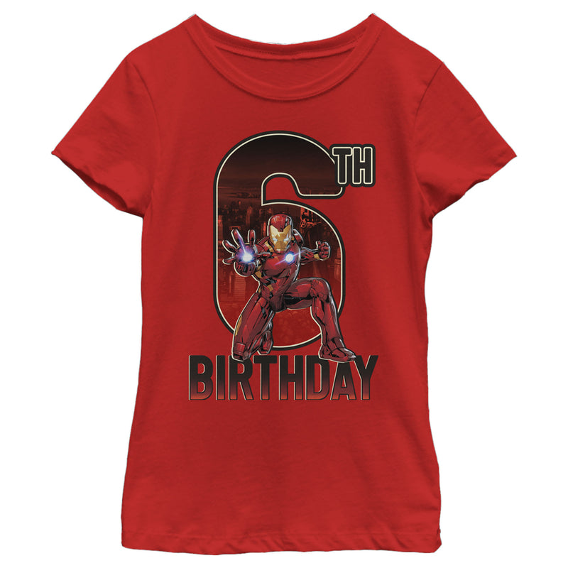 Marvel Girl's Iron Man 6th Birthday Action Pose  T-Shirt  Red  XL