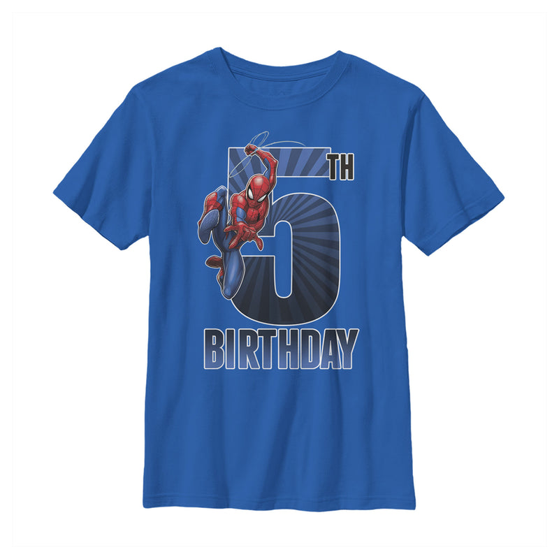 Marvel Spider-Man Swinging 5th Birthday Boys Graphic T Shirt