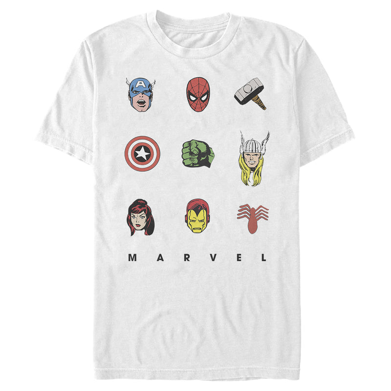 Marvel Men's Hero Face Tic-Tac-Toe  T-Shirt  White  S