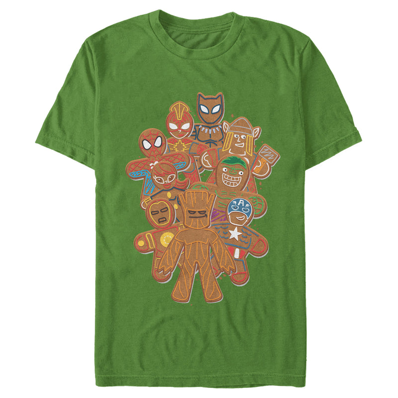 Marvel Men's Christmas Gingerbread Cookie Heroes  T-Shirt  Kelly Green  XL