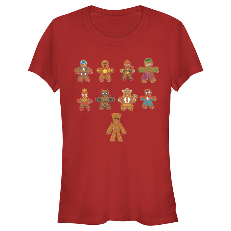 Marvel Junior's Christmas Gingerbread Cookie Avengers  T-Shirt