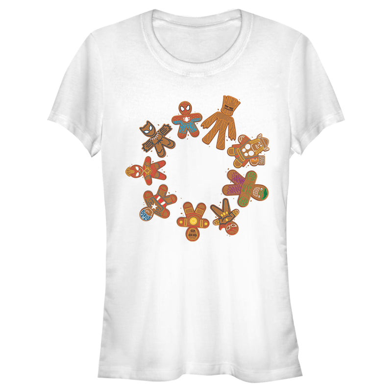 Marvel Junior's Christmas Gingerbread Cookie Circle  T-Shirt  White  S