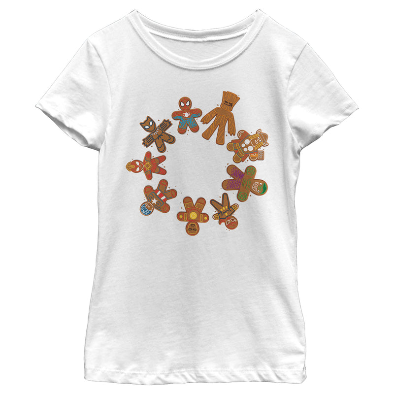 Marvel Christmas Gingerbread Cookie Circle Girls Graphic T Shirt
