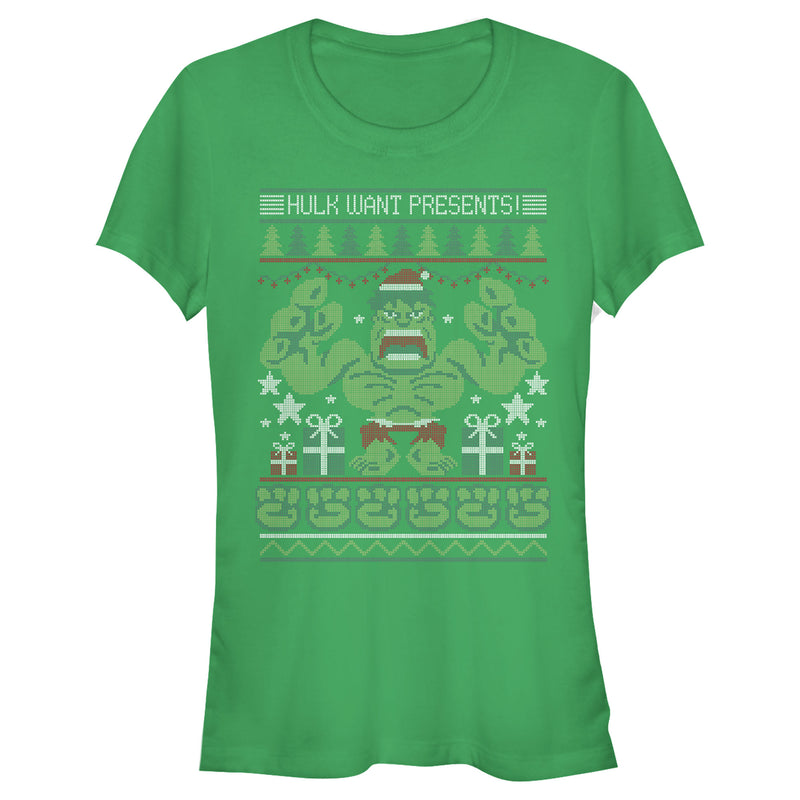 Marvel Junior's Ugly Christmas Hulk Want Presents  T-Shirt  Kelly Green  S