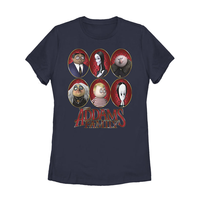 Addams Family Women's Portrait Panels  T-Shirt  Navy Blue  M