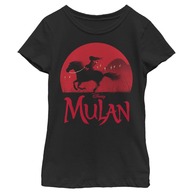 Mulan Sunset Silhouette Girls Graphic T Shirt