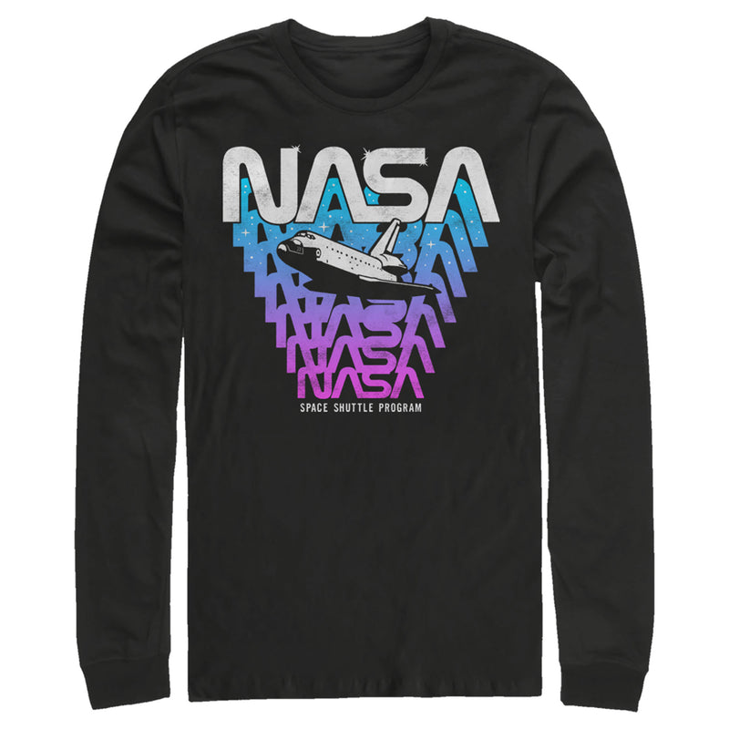 NASA Logo Fade Away Mens Graphic Long Sleeve Shirt
