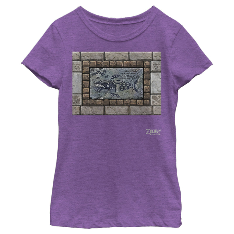 Nintendo Girl's Legend of Zelda Link's Awakening Whale Stone Tablet  T-Shirt  Purple Berry  XS