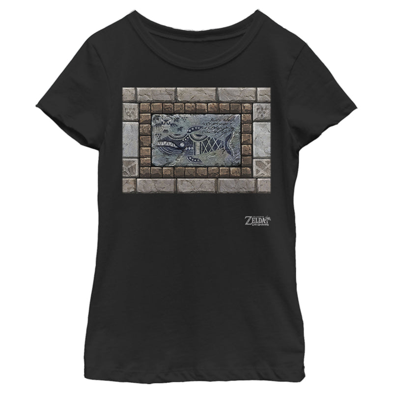 Nintendo Girl's Legend of Zelda Link's Awakening Whale Stone Tablet  T-Shirt  Black  L