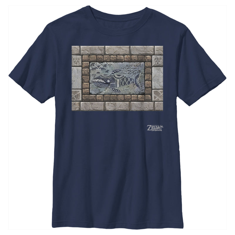 Nintendo Boy's Legend of Zelda Link's Awakening Whale Stone Tablet  T-Shirt  Navy Blue  XL