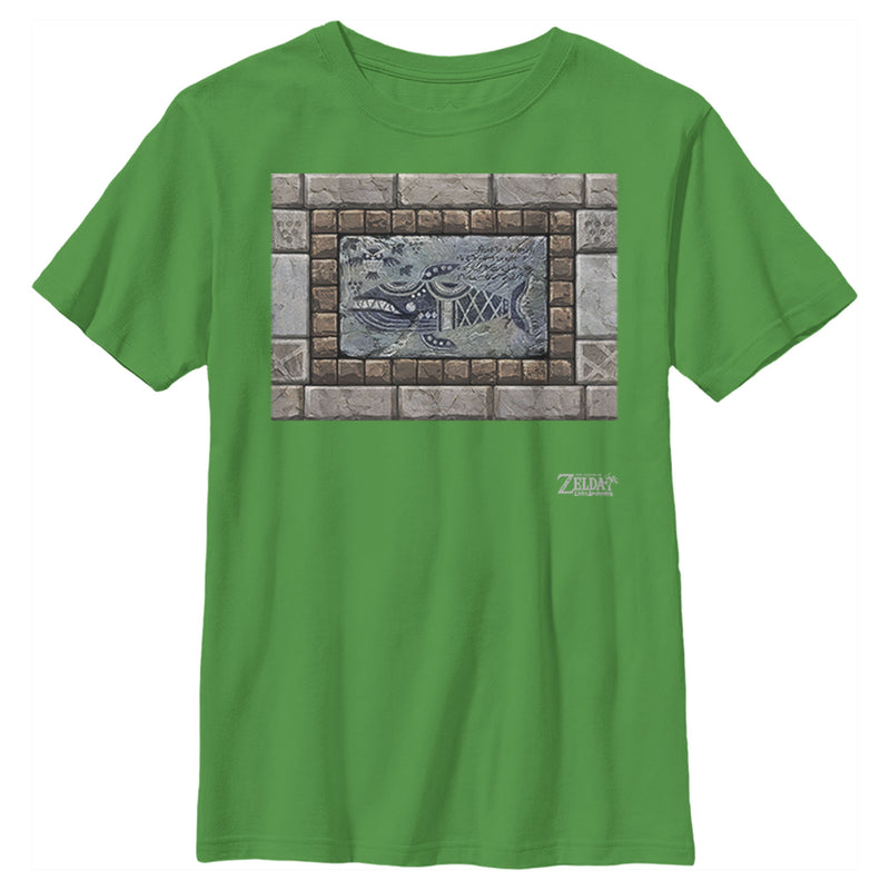 Nintendo Boy's Legend of Zelda Link's Awakening Whale Stone Tablet  T-Shirt  Kelly Green  L