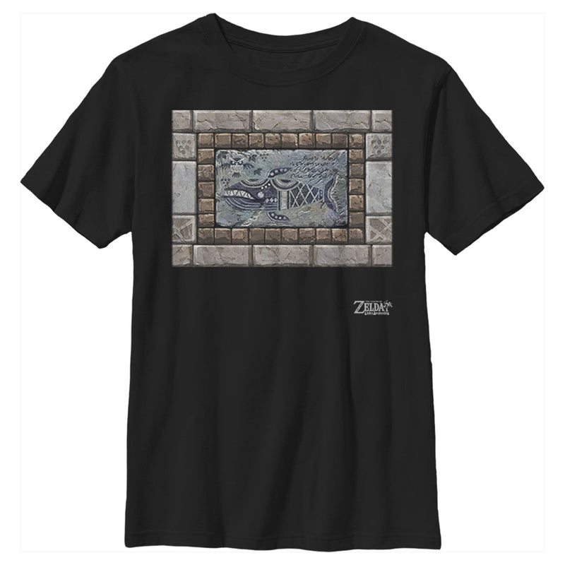 Nintendo Boy's Legend of Zelda Link's Awakening Whale Stone Tablet  T-Shirt  Black  L