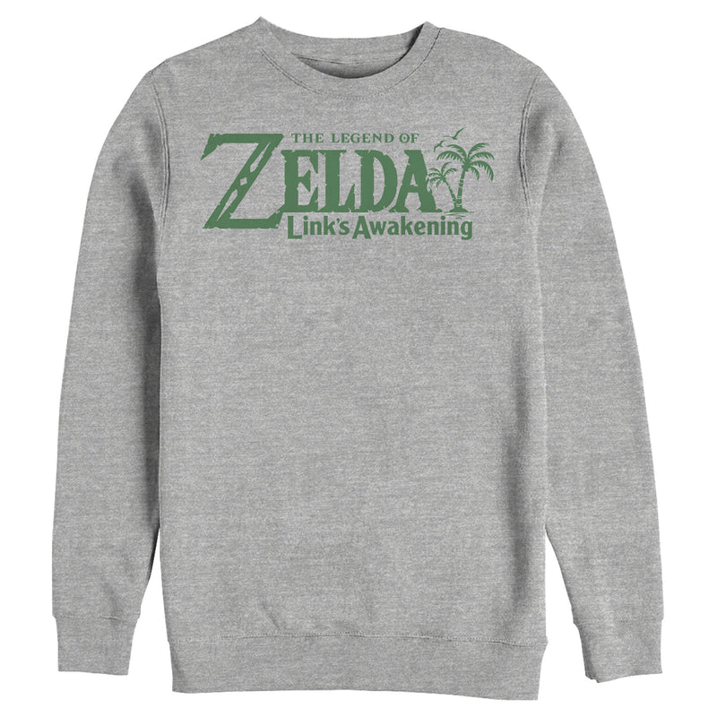 Nintendo Men's Legend of Zelda Link's Awakening Palm Logo  Sweatshirt  Athletic Heather  2XL
