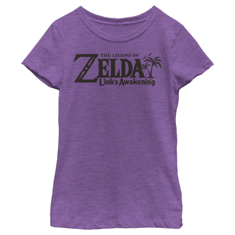 Nintendo Girl's Legend of Zelda Link's Awakening Switch Logo  T-Shirt  Purple Berry  XS