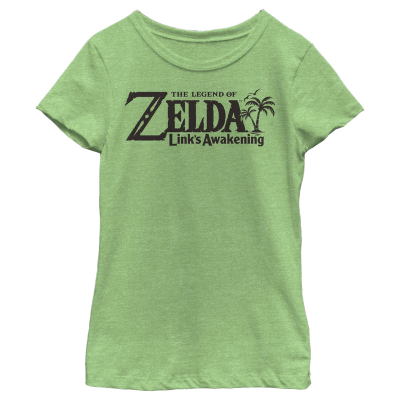 Nintendo Girl's Legend of Zelda Link's Awakening Switch Logo  T-Shirt  Green Apple  XL