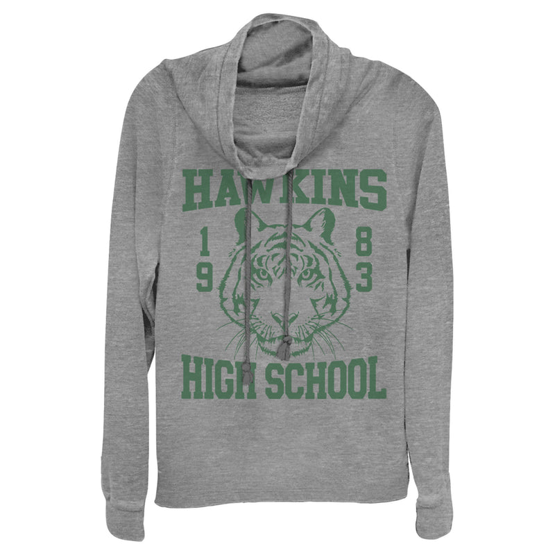 Stranger Things Hawkins High School Tiger 1983 Juniors Graphic Cowl Neck Sweatshirt
