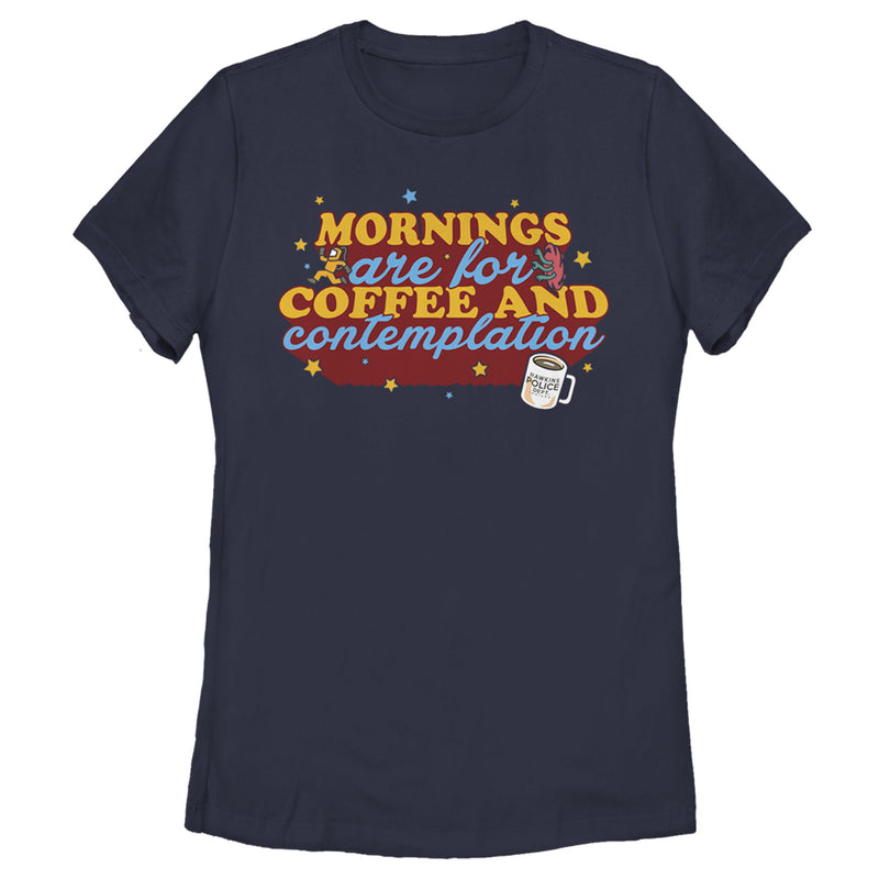 Stranger Things Women's Coffee And Contemplation Typographic  T-Shirt  Navy Blue  S