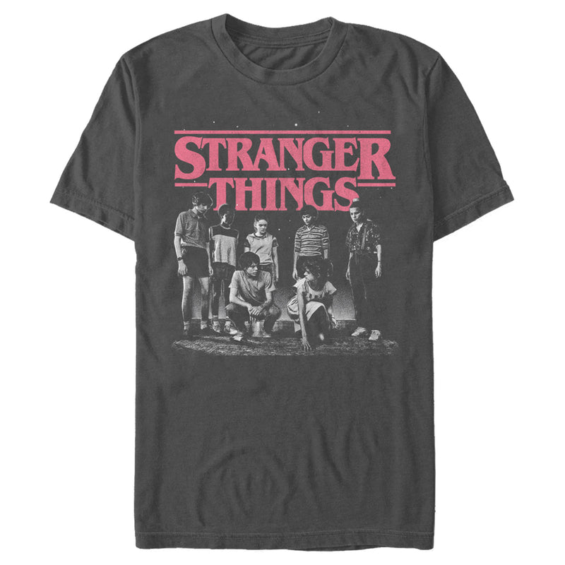 Stranger Things Title Logo Faded Mens Graphic T Shirt