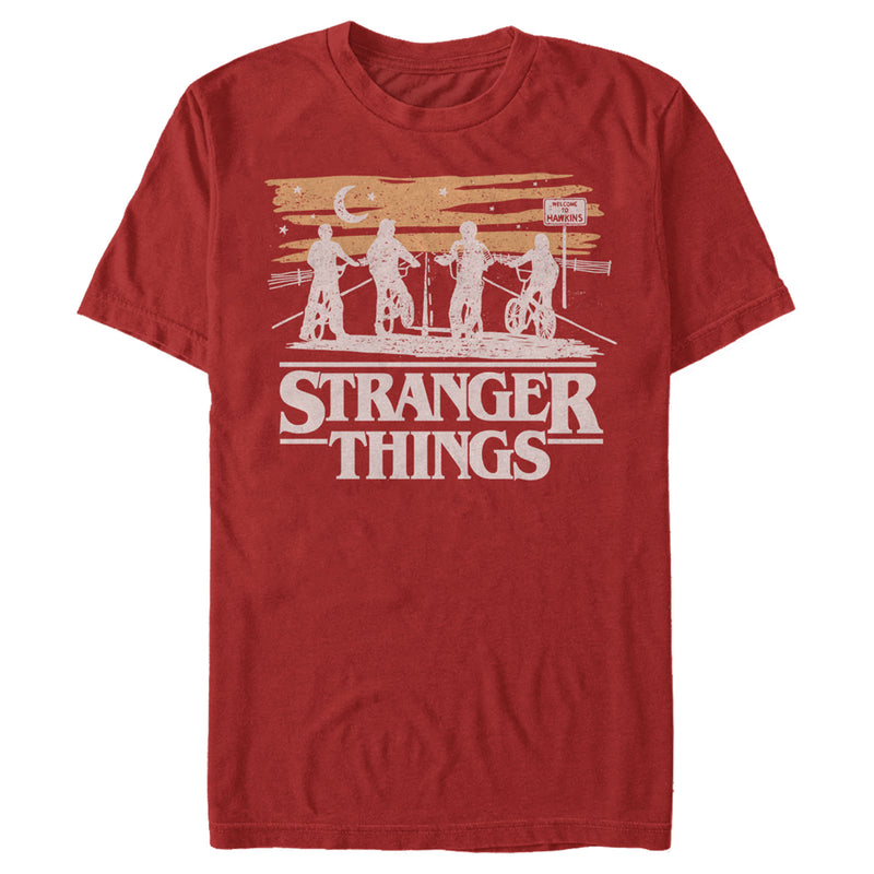 Stranger Things Men's Starry Bike Ride  T Shirt Red 2XL
