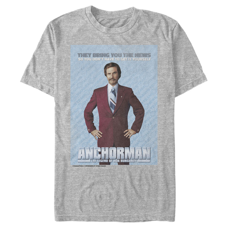 Anchorman Ron Burgundy Brings the News Mens Graphic T Shirt