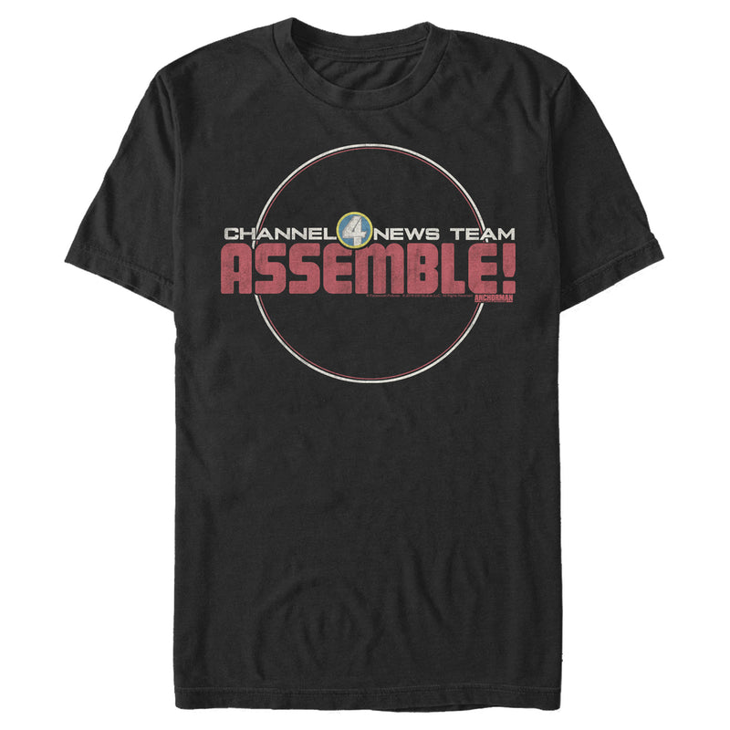 Anchorman Channel 4 News Assemble Mens Graphic T Shirt