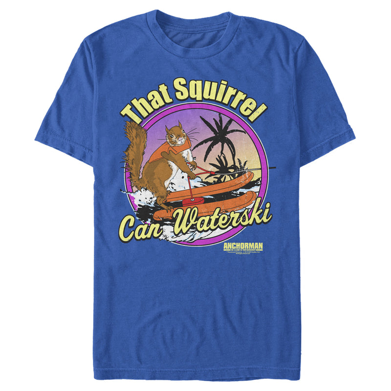 Anchorman Men's That Squirrel Can Waterski  T-Shirt  Royal Blue  L