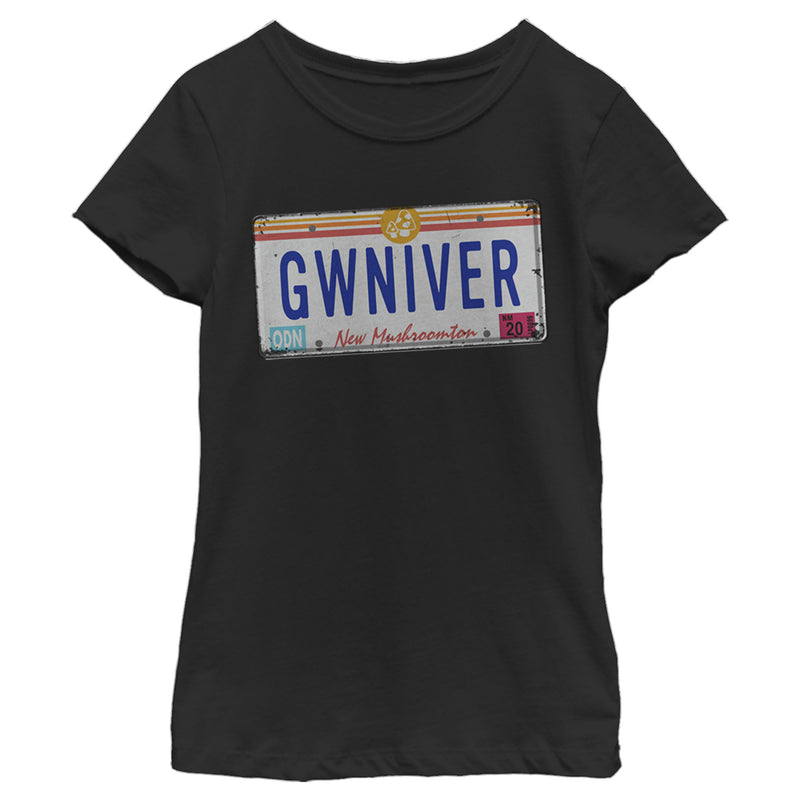 Onward Girl's GWINIVER License Plate  T-Shirt  Black  L