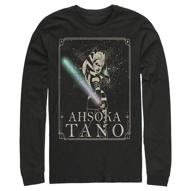Star Wars: The Clone Wars Men's Ahsoka Tano Celestial Portrait  Long Sleeve Shirt  Black  L