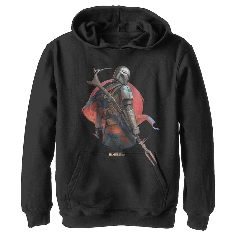 Star Wars The Mandalorian Boy's Dusty Sunset  Pull Over Hoodie  Black  S