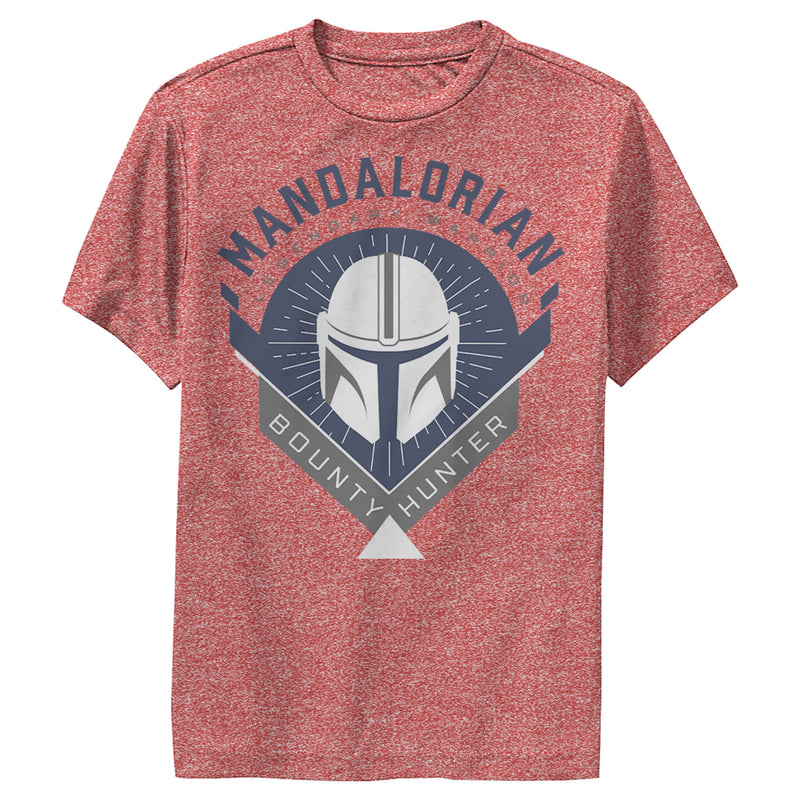 Star Wars The Mandalorian Boy's Warrior Emblem  Performance Tee  Red Heather  S