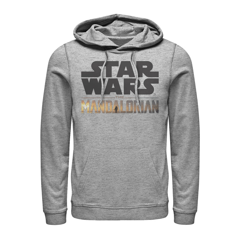 Star Wars The Mandalorian Double Logo Mens Graphic Lightweight Hoodie