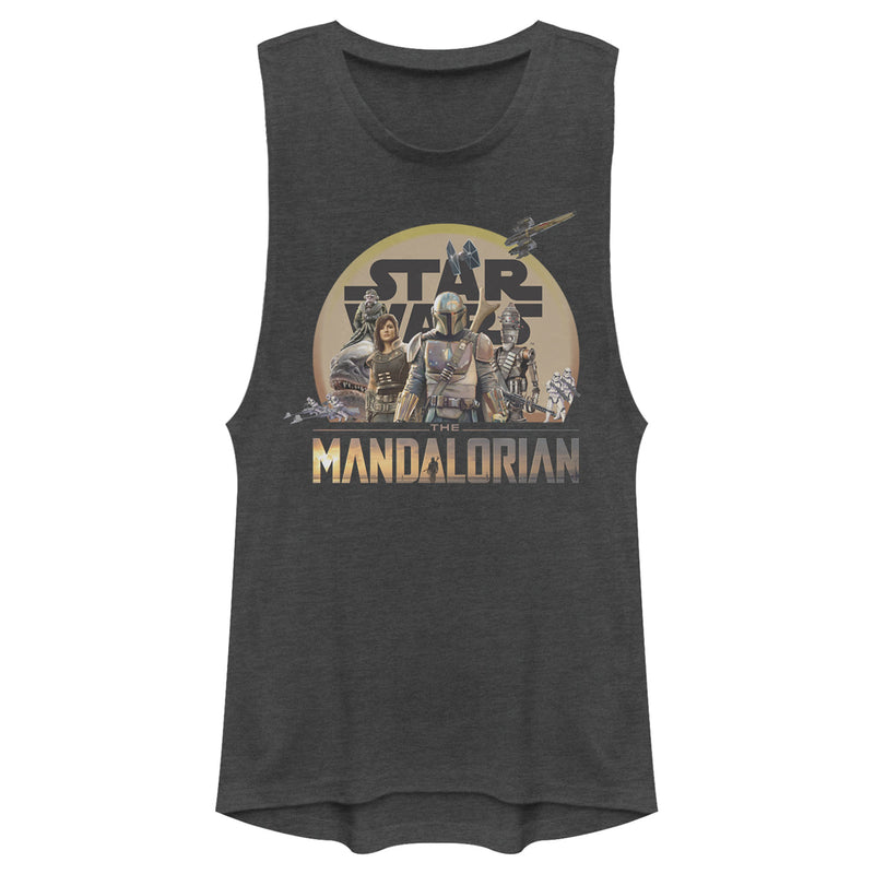 Star Wars The Mandalorian Junior's Character Collage  Festival Muscle Tee  Charcoal  2XL
