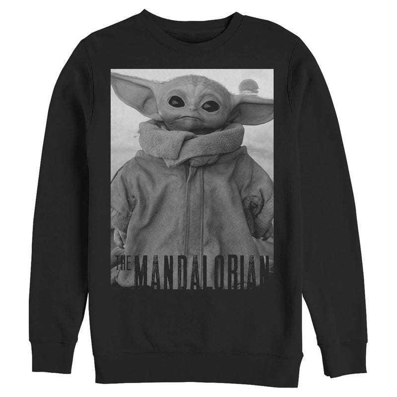 Star Wars The Mandalorian The Child Grayscale Pose Mens Graphic Sweatshirt