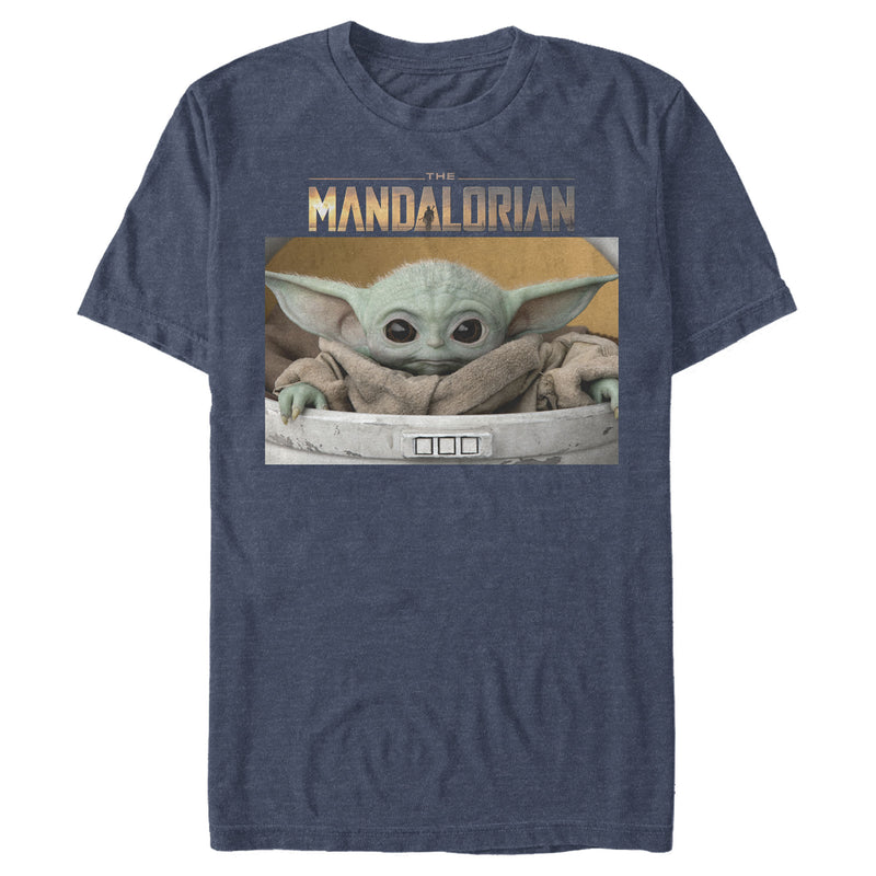 Star Wars The Mandalorian Men's The Child Bassinet  T-Shirt  Navy Blue Heather  S