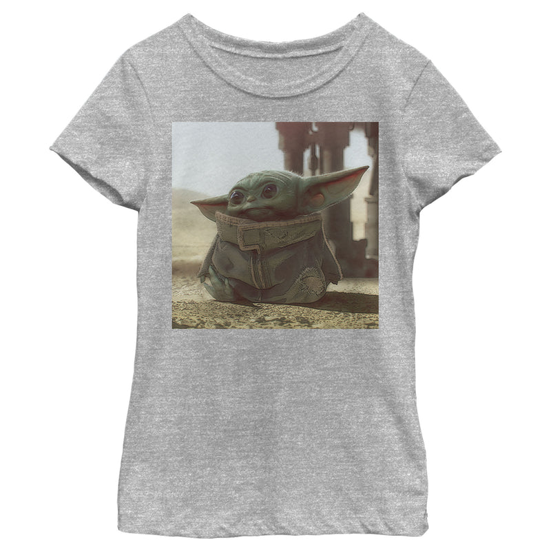 Star Wars The Mandalorian Girl's The Child Square Frame  T-Shirt  Athletic Heather  XS