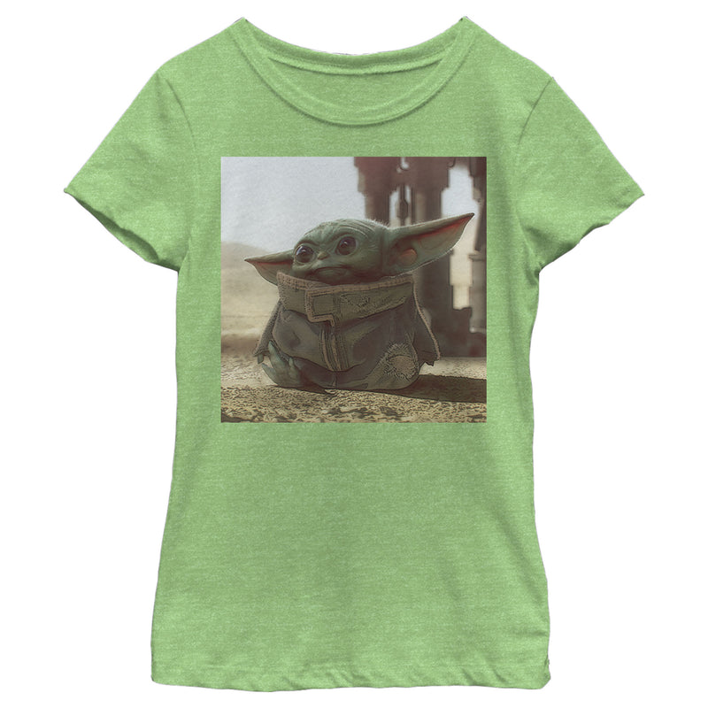 Star Wars The Mandalorian Girl's The Child Square Frame  T-Shirt  Green Apple  M
