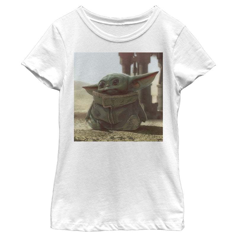 Star Wars The Mandalorian Girl's The Child Square Frame  T-Shirt  White  XS